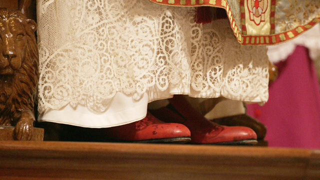 PHOTO: Pope Benedict XVI's red shoes are seen as the pope attends a mass in Sydney's St Mary's Cathedral during World Youth Day celebrations on July 19, 2008.