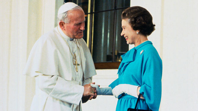 The Pope visits Queen Elizabeth II at Buckingham Palace, in this file photo.