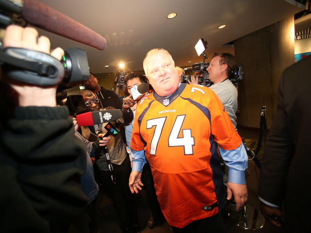 PHOTO: Mayor Rob Ford wears a Denver Broncos jersey on Feb 11, 2014 in Toronto, Canada.