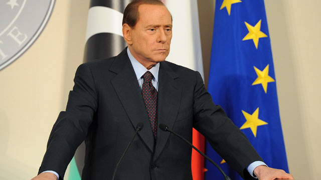 PHOTO: Italian Prime Minister Silvio Berlusconi attends a meeting and press conference with Deputy chairman of the National Transitional Council Executive Board Mahmoud Jibril at the Prefecture Palace, Milan, Italy Aug. 25, 2011.
