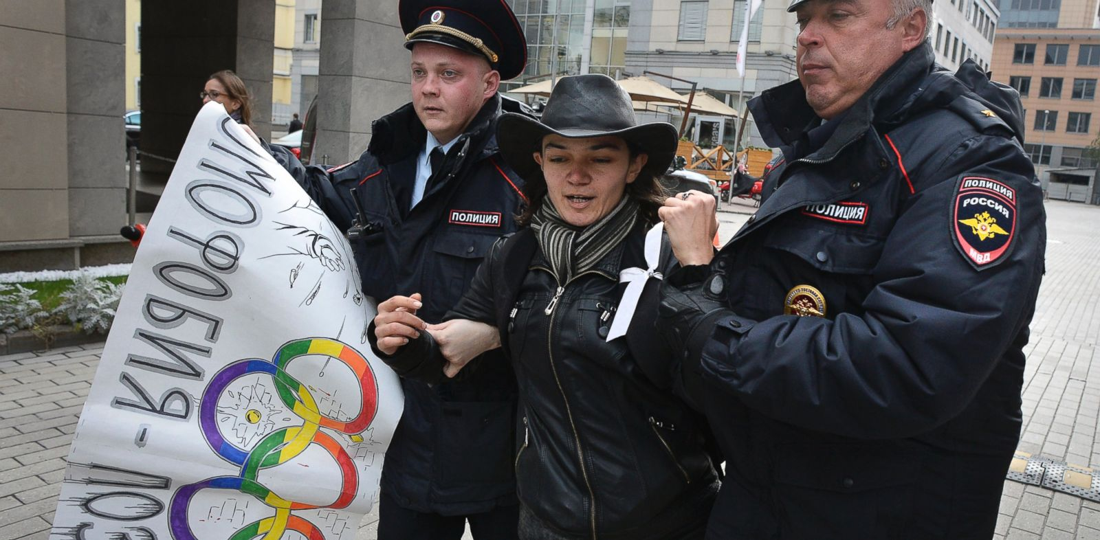 PHOTO: Police officers detain a gay rights activist during a protest outside the headquarters of the Sochi 2014 Organizing Committee in central Moscow, Sept. 25, 2013.