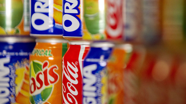PHOTO: Cans of soda can be seen on a shelf in Paris, France in this Sept. 8, 2011.
