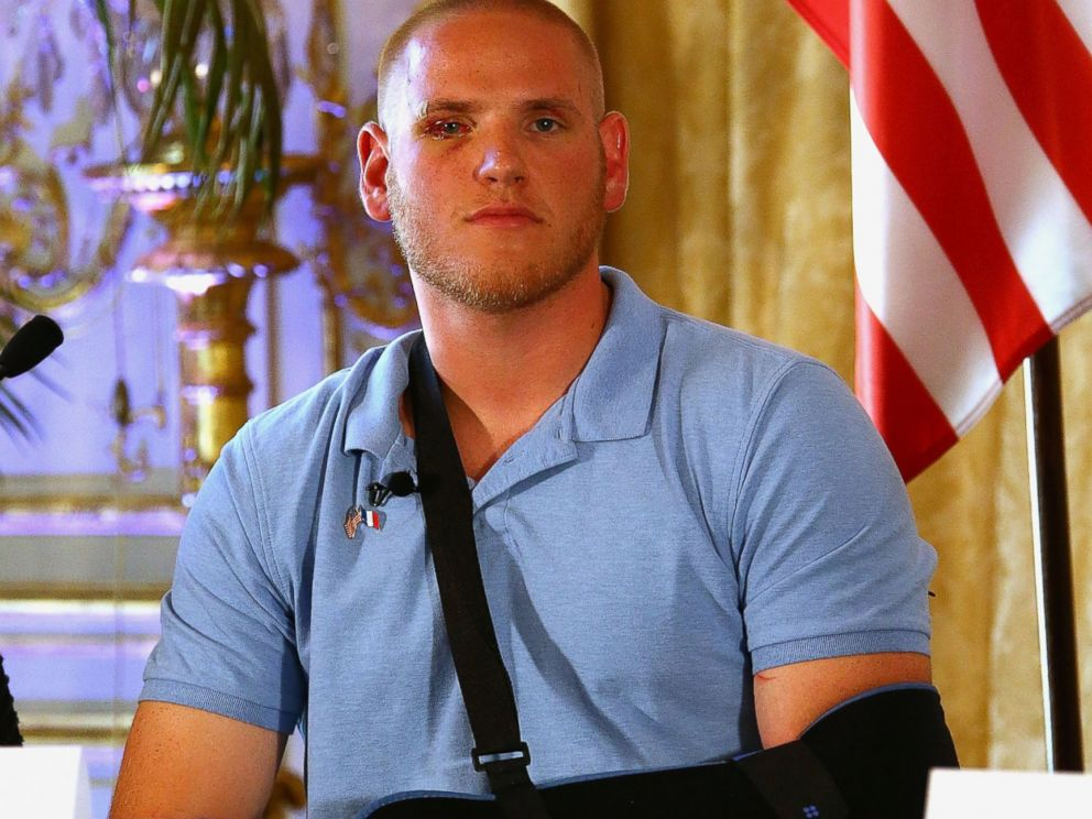 PHOTO:Spencer Stone Gives A Press Conference at the US Ambassador Residence, Aug. 23, 2015, in Paris.