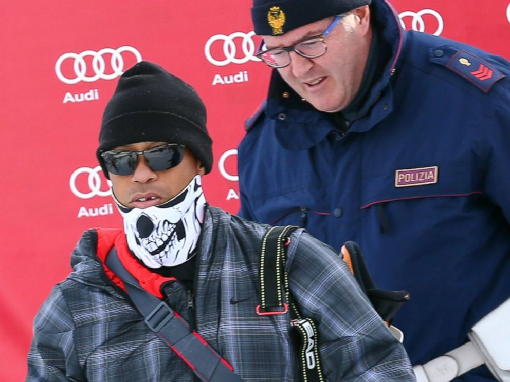 PHOTO: Tiger Woods walks in the finish area of an alpine ski, womens World Cup super-G, in Cortina dAmpezzo, Italy, Jan. 19, 2015.