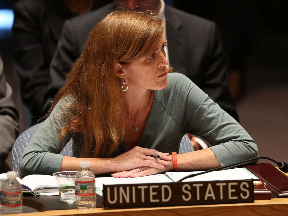 PHOTO: U.S. Ambassador to the United Nations, Samantha Power, attends a meeting of the United Nations Security Council to discuss the shooting down of a Malaysia Airlines passenger jet over eastern Ukraine on July 21, 2014 in New York City.