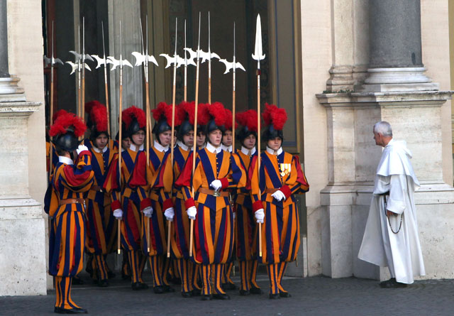 gty vatican city outside guard thg 130226 wblog From Vatican City to Castel Gandolfo, The Popes Digs