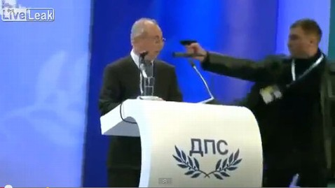 ht bulgarian pistol youtube jt 130119 wblog Man Points Gun at Bulgarian Politicians Head During Speech