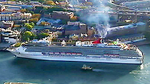 PHOTO: Authorities in Australia are looking for two people who are shown by surveillance footage, to be falling overboard during a Carnival Spirit cruise.