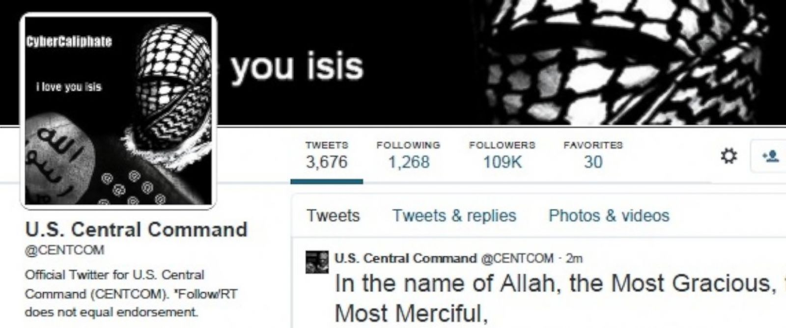 PHOTO: The official Twitter account for the U.S. militarys Central Command appeared to be hijacked by ISIS supporters Jan. 12, 2015.