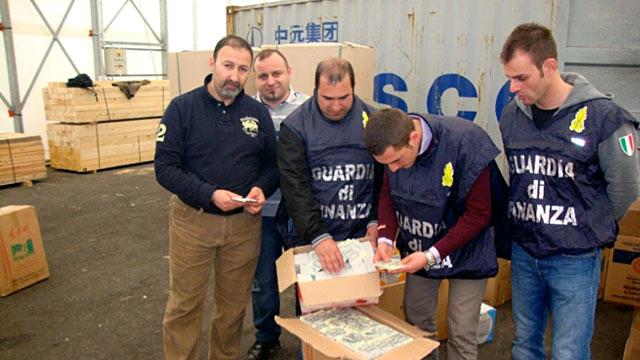 PHOTO: Italian police look at counterfeit train tickets