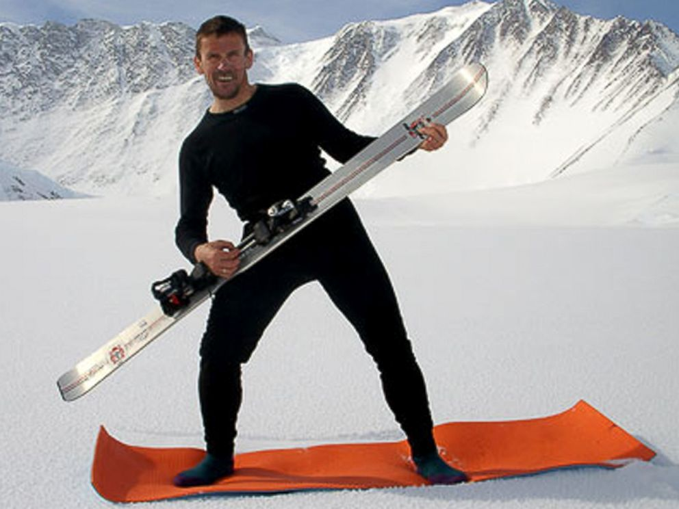PHOTO: Davorin Davo Karnicar poses with his skis. Karnicar was the first man to ski down from the summit of Mount Everest, Oct. 7, 2000.