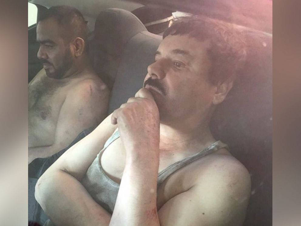 PHOTO: A photo released by Plaza de Armas purports to show Mexican drug lord Joaquin El Chapo Guzman after his arrest in Mexico, Jan. 8, 2016.