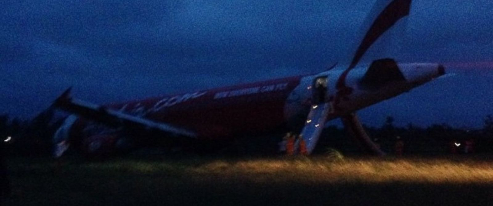 PHOTO: An AirAsia Flight Z2272 plane overshot a runway in the Philippines, Dec. 30, 2014.
