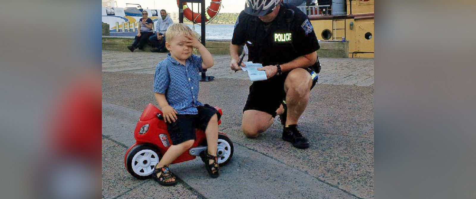 """PHOTO: This image was posted to the Halifax Regional Police Twitter account on July 5, 2015 with the text, """"Remember, no motorcycle parking in the circle by the ferry terminal. This ruthless biker was caught yesterday!"""""""