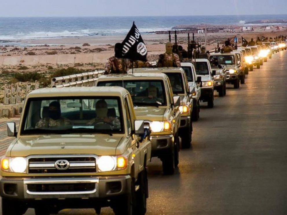 PHOTO: ISIS militants parade through Sirte, Libya in photos released by the Islamic State on Feb. 18, 2015.
