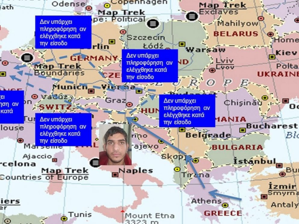 PHOTO: A slide from a Greek government presentation shows a suspected Paris attackers potential routes through Europe.