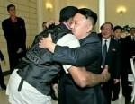 PHOTO: North Korean leader Kim Jong Un hugs former NBA star Dennis Rodman during Rodmans visit to Pyongyang, North Korea.