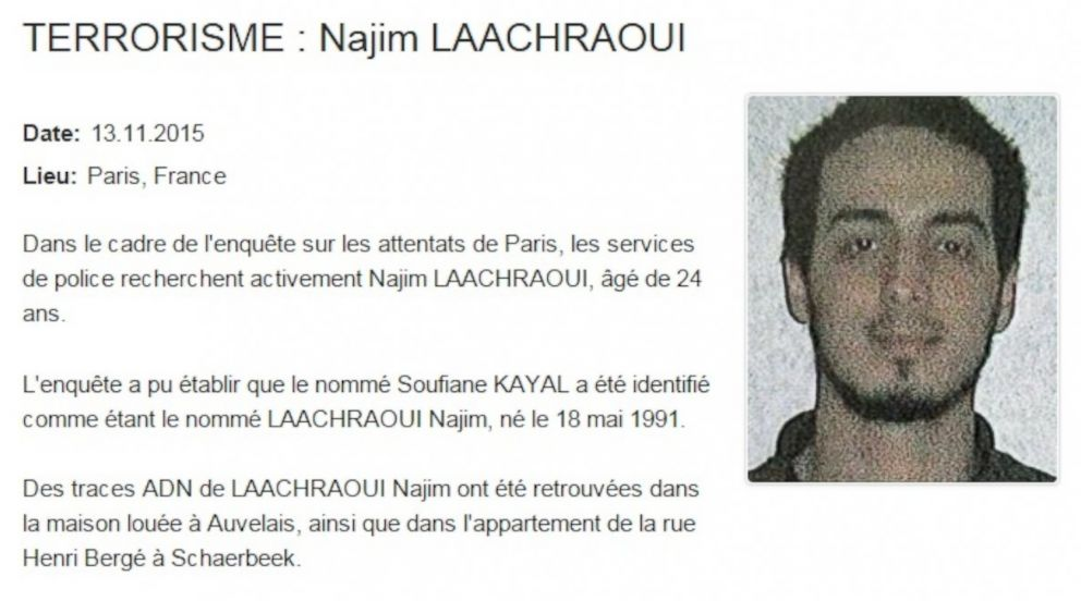 PHOTO: This notice about Najim Laachraoui was posted online by the Belgian Federal Police in November 2015.