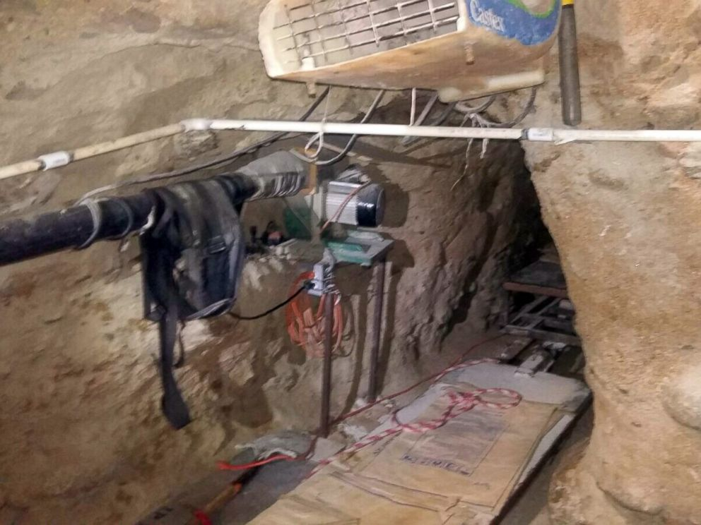 PHOTO: Federal Police in Mexico released this image of a tunnel that they say was used to smuggle drugs into the U.S. from Tijuana to San Diego on Oct. 22, 2015.
