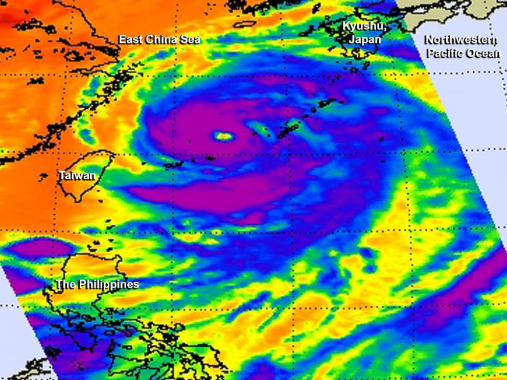 PHOTO: This false-colored infrared image of Supertyphoon Neoguri was taken by the AIRS instrument aboard NASAs Aqua satellite on the afternoon of July 6, 2014.