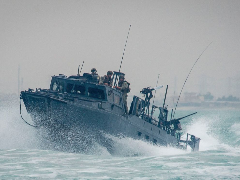 PHOTO: A riverine command boat transits through rough seas during patrol operations in the Arabian Gulf, Oct. 30, 2015.
