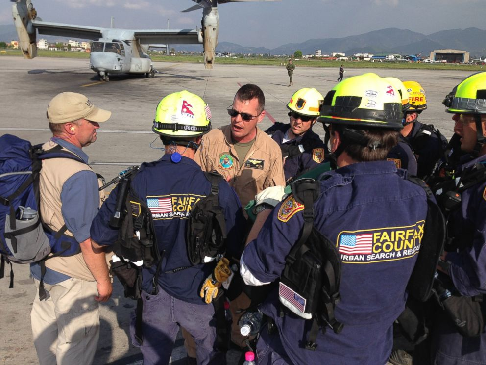 PHOTO: Members of a USAID Disaster Assistance Response Team prepare for aerial assessments and rescue operations in Dolakha after a magnitude 7.3 earthquake in Nepal on May 12, 2015.