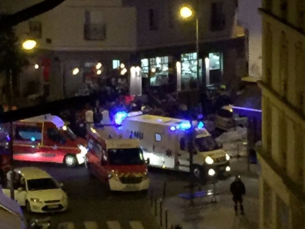 PHOTO: Ambulances are seen in a photo shared on Twitter after news broke of explosions and shootings near Stade de France in Paris, Nov. 13, 2015.