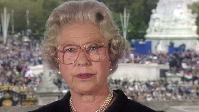 "PHOTO: Britain's Queen Elizabeth II, seen in this TV image, pays tribute to Diana, princess of Wales, extolling the late princess as an ""exceptional and gifted human being,"" Sept. 5, 1997, at Buckingham Palace."