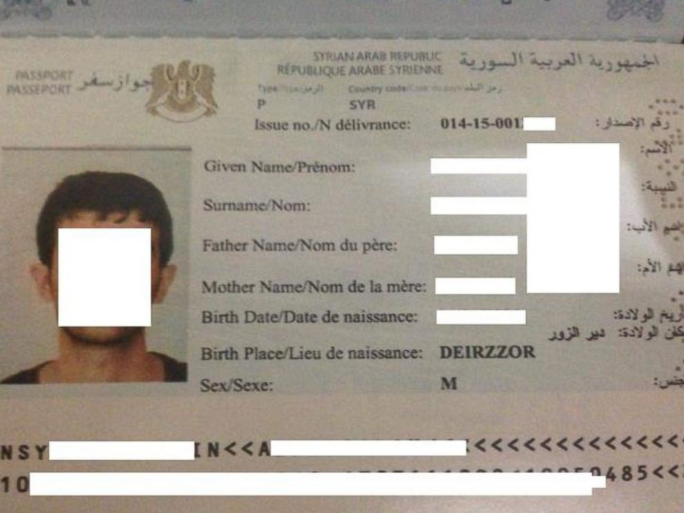 PHOTO: A passport that law enforcement says was issued from ISIS-controlled territory in 2015, obtained in Istanbul.