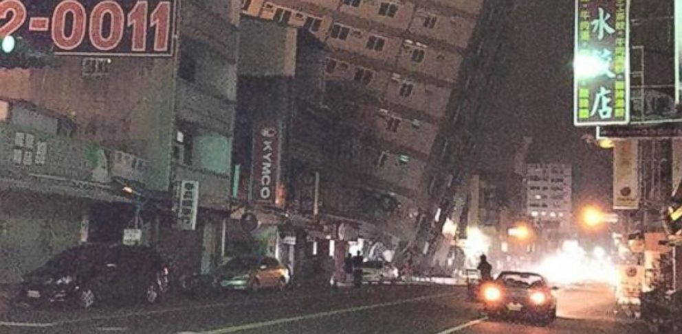 PHOTO: Yun-yun Yen posted this photo of a collapsing building following an earthquake in Tainan, Taiwan on Feb. 5, 2016.