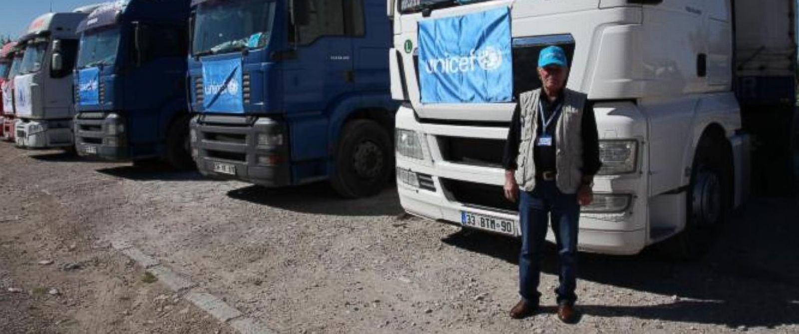 PHOTO: UNICEF trucks bring aid to Syria. On Mar. 20, the first U.N. aid trucks crossed into Syria from the Nusaybin crossing on the Turkish border, after the Syrian government opened the crossing to allow aid to reach Qamishli.