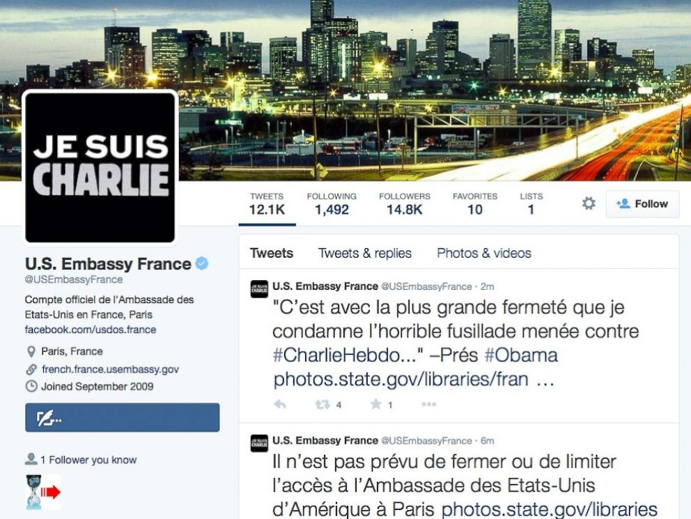 PHOTO: The US Embassy in France posted a Je Suis Charlie image on their Twitter page, Jan. 7, 2015.