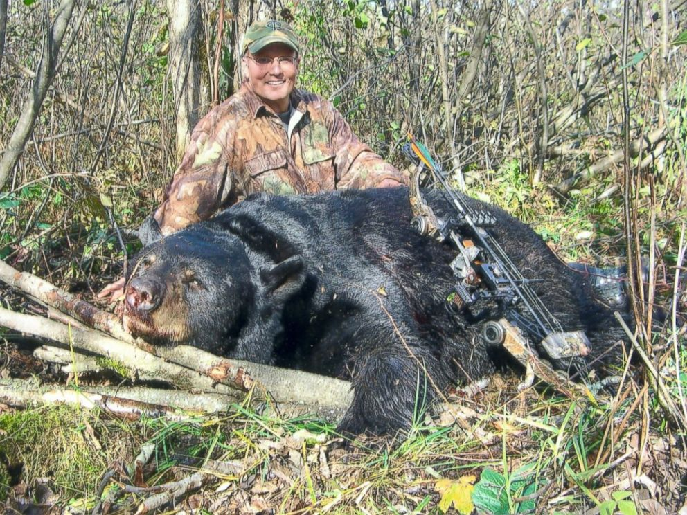 PHOTO: In 2008, Dr. Walter Palmer pleaded guilty to making false statements to the U.S. Fish and Wildlife Service about a black bear he shot and killed in Wisconsin outside of an authorized hunting zone. Palmer and the bear are pictured here.