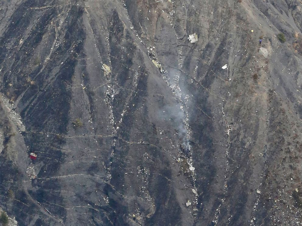 PHOTO: This aerial photo show what appears to be wreckage from the Airbus A320 plane crash near the town of Digne in the French Alps, March 24, 2015.