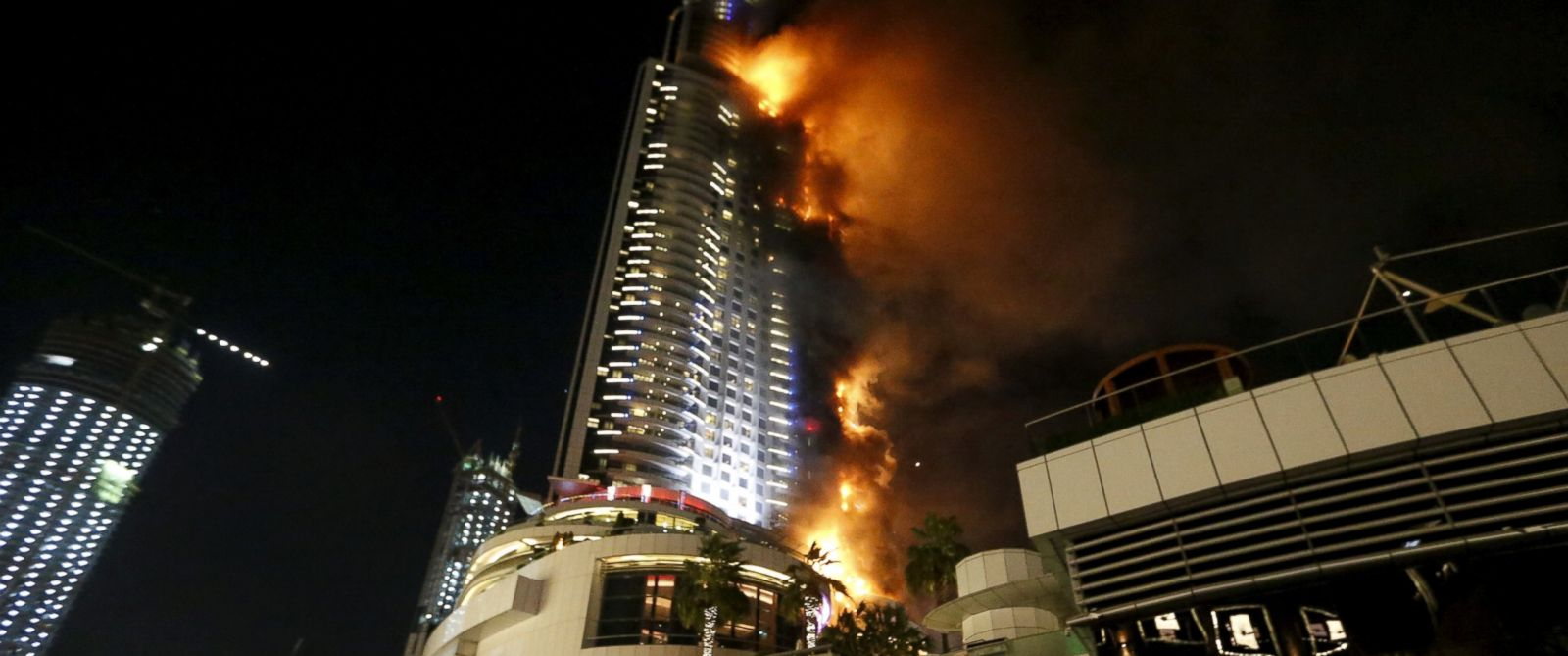 PHOTO: A fire engulfs The Address Hotel in downtown Dubai in the United Arab Emirates Dec. 31, 2015.