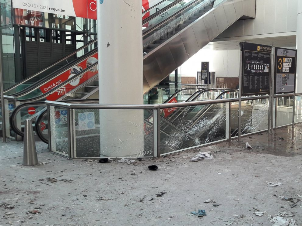 PHOTO: Damage is seen inside the departure terminal following the March 22, 2016 bombing at Zaventem Airport, in an undated photo made available to Reuters by the Belgian newspaper Het Nieuwsblad, in Brussels, Belgium, March 29, 2016.