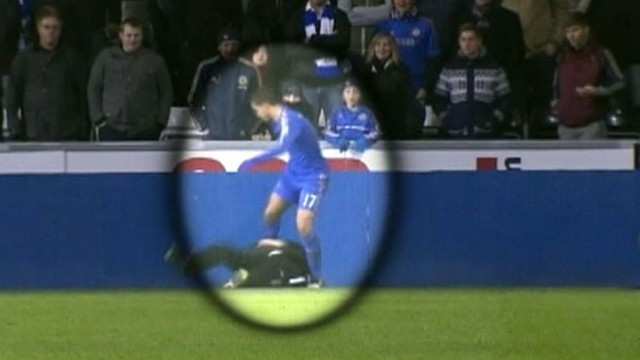 VIDEO: Chelseas winger Eden Hazard kicked the 17-year-old ball boy while attempting to retrieve the ball.