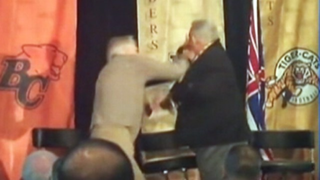 VIDEO: Ex-Canadian football rivals Joe Kapp and Angelo Mosca fight at banquet.