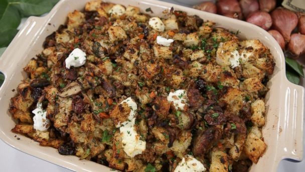 PHOTO: Bobby Flays Cracked Wheat Dressing with Wild Mushrooms, Cherries, Sausage and Goat Cheese.