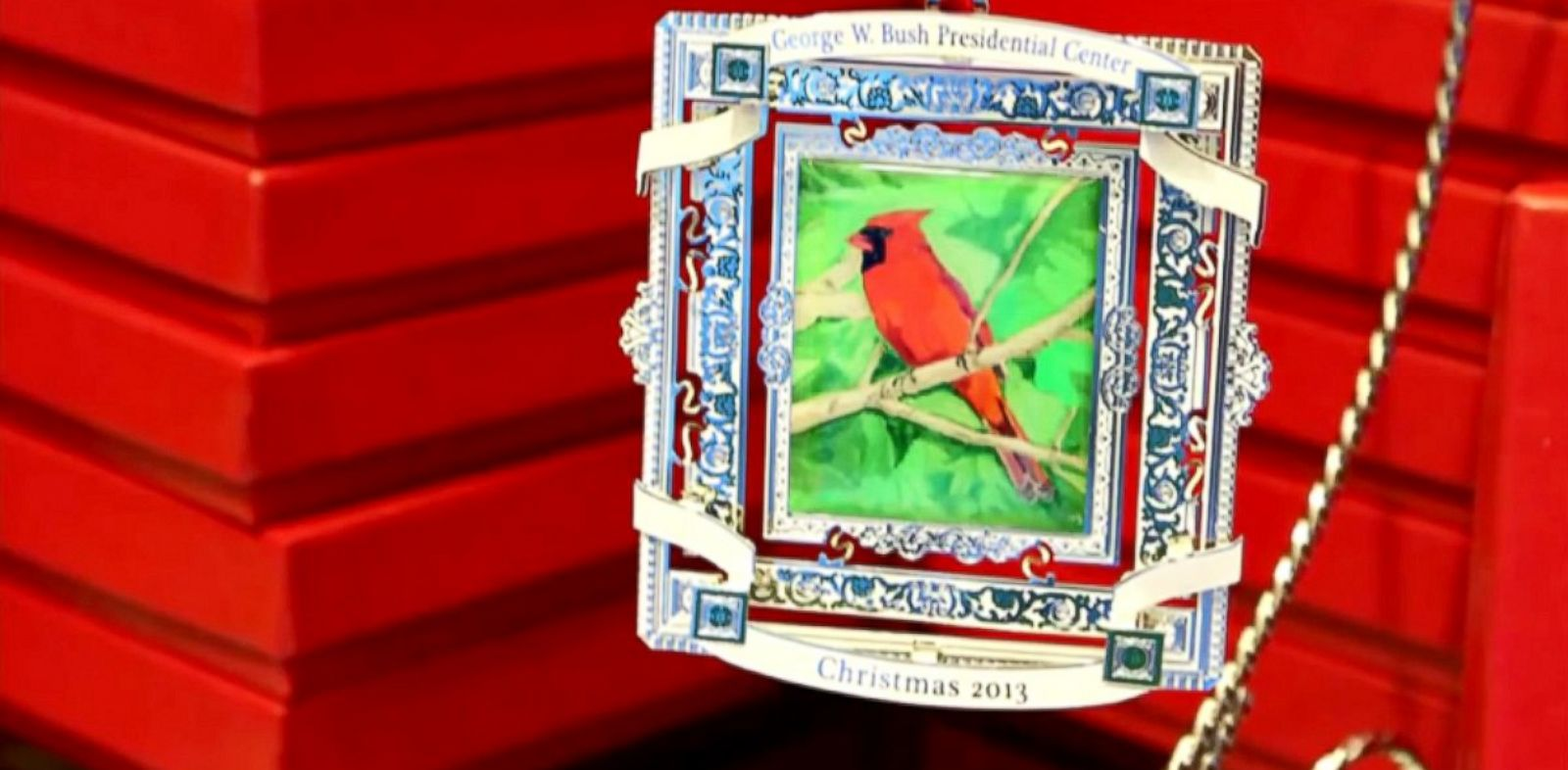 PHOTO: The 2013 Bush Center Ornament, features artwork by President George W. Bush.
