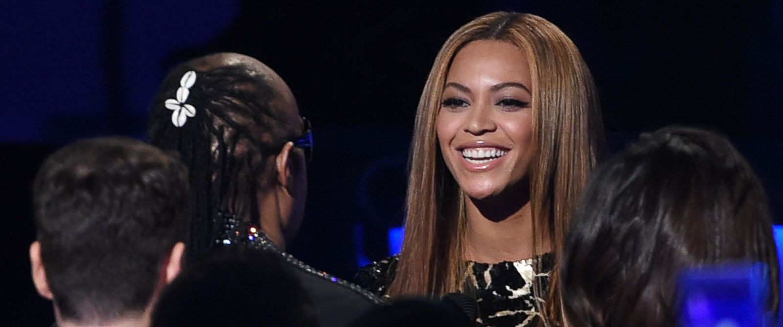 """PHOTO: Beyonce, right, greets Stevie Wonder in the audience before her performance at """"Stevie Wonder: Songs in the Key of Life - An All-Star Grammy Salute,"""" Feb. 10, 2015, in Los Angeles."""