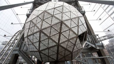 PHOTO: The Waterford crystal ball is shown atop One Times Square during a media opportunity, Dec. 27, 2015, in New York.