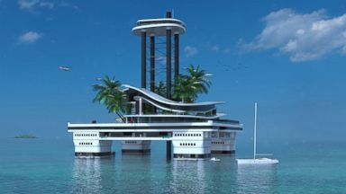 PHOTO: This rendering shows Migaloo Privare Submersible Yachts portable private island, Kokomo Ailand.