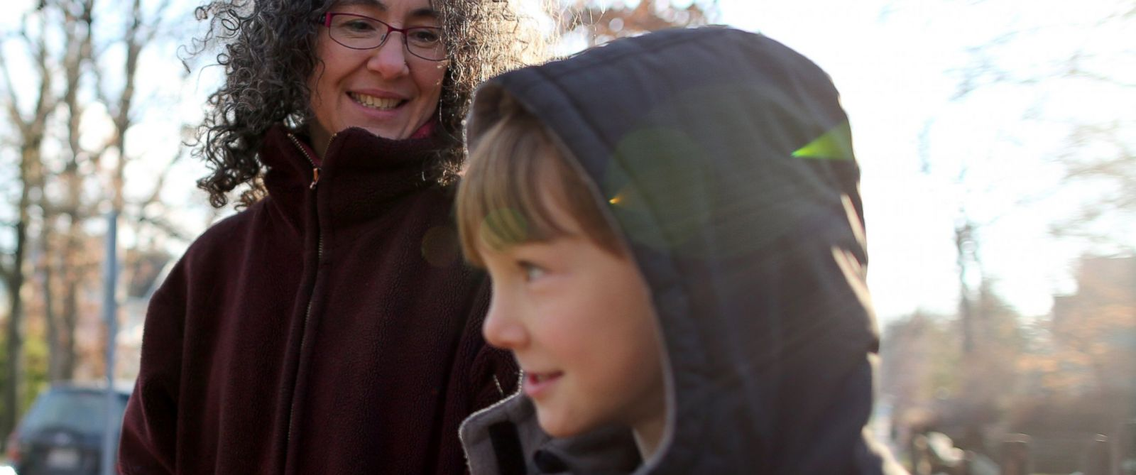 PHOTO: Danielle Meitiv waits with her son Rafi Meitiv, Jan. 16, 2015.