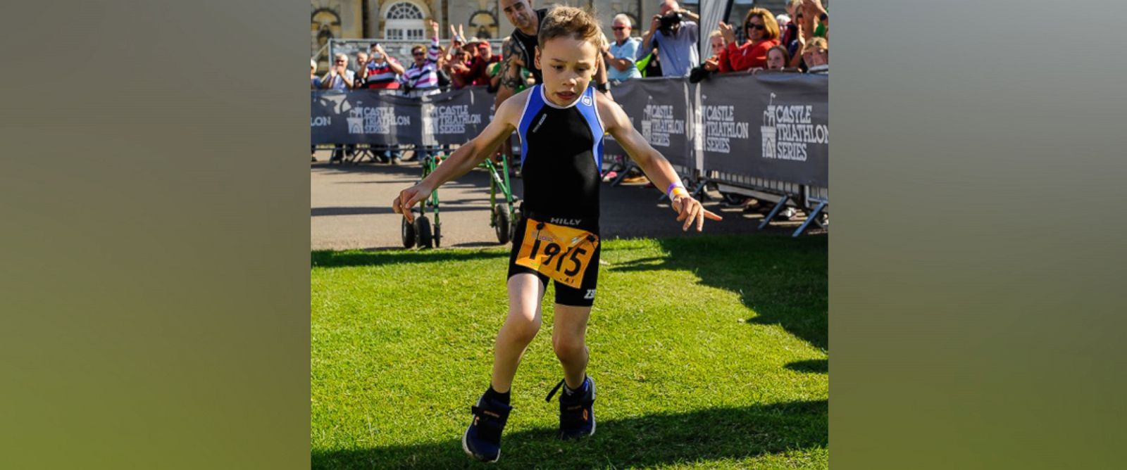 PHOTO: Bailey Matthews, a 9-year-old boy with cerebral palsy, successfully competed in the Castle Howard Triathlon in North Yorkshire, England, July 2015.