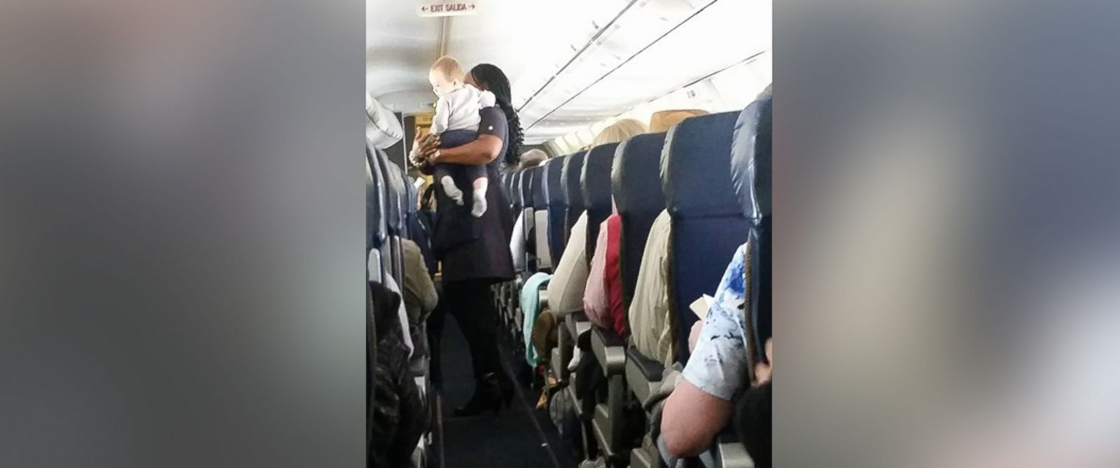 PHOTO:Heather Gooch shared a photo on Facebook of her 9-month-old son, Aiden, being held by a Southwest Airlines flight attendant.