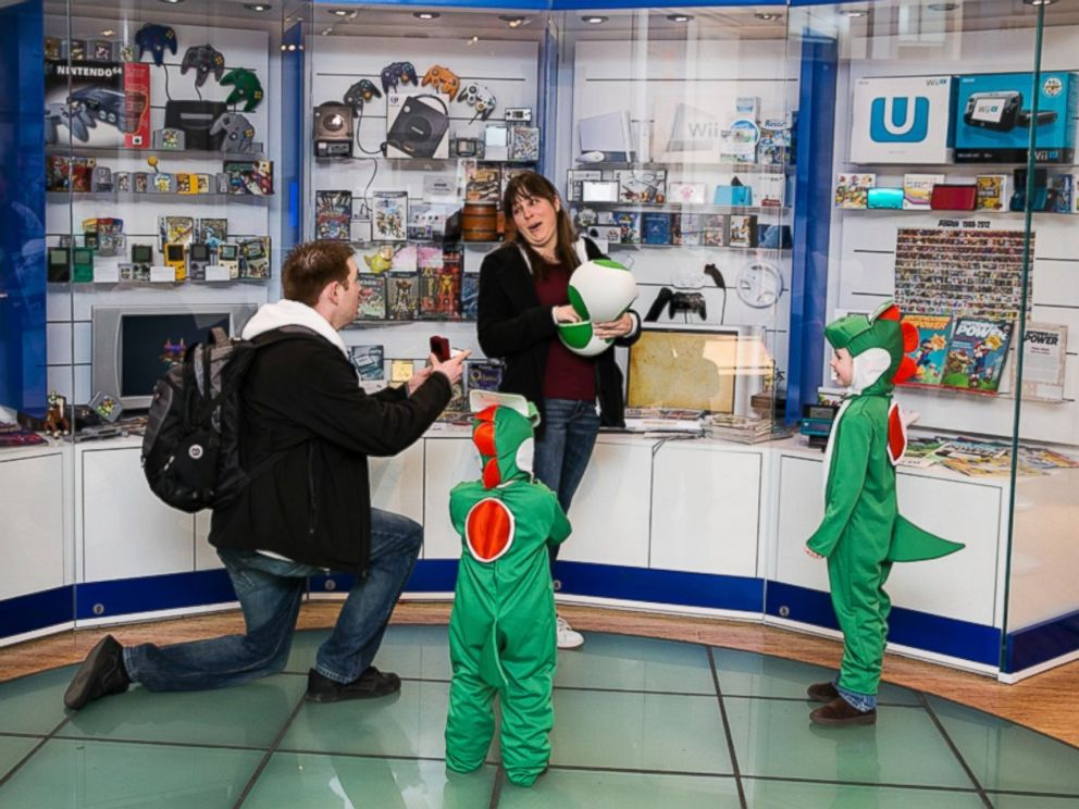 PHOTO: A California man surprised his girlfriend with a proposal inside of the Nintendo World Store. Credit: Laura Pennace