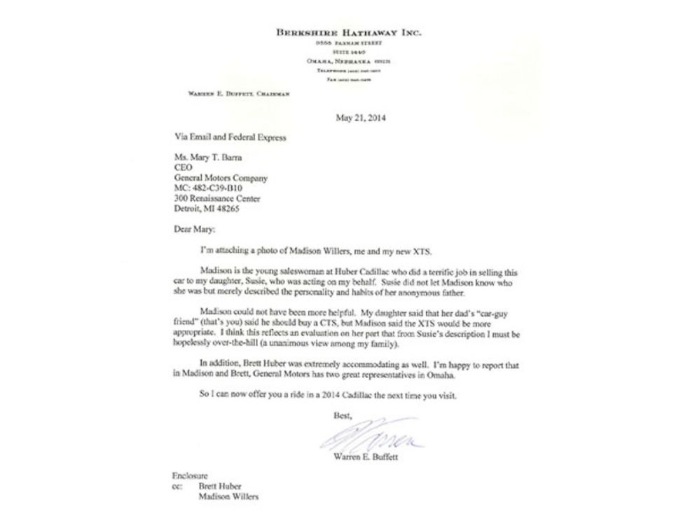 PHOTO: Warren Buffet is so impressed with saleswoman he writes a letter to GM CEO.