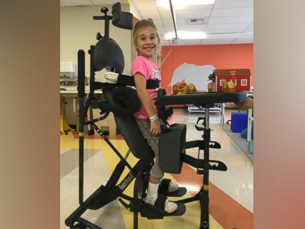 PHOTO: Eden is seen here in her stander during physical therapy.