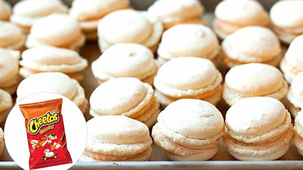 PHOTO: Cheesy orange poofs meet macarons in this spin on the classic French dessert.